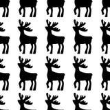 Illustrazione di vettore dei cervi Icona della siluetta del nero dei cervi su fondo bianco Reticolo senza cuciture dei cervi illustrazione vettoriale