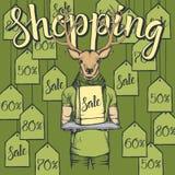 Illustrazione di vettore dei cervi su Black Friday Fotografia Stock Libera da Diritti