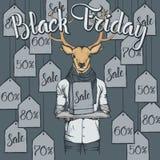 Illustrazione di vettore dei cervi su Black Friday Fotografie Stock