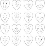 Illustrazione di vettore dei cuori emozioni Immagine Stock