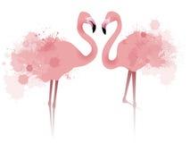 Illustrazione di vettore dei fenicotteri di rosa delle coppie Fotografia Stock Libera da Diritti