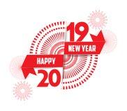 Illustrazione di vettore dei fuochi d'artificio Fondo 2019 del buon anno Immagini Stock Libere da Diritti