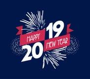 Illustrazione di vettore dei fuochi d'artificio Fondo 2019 del buon anno Immagini Stock