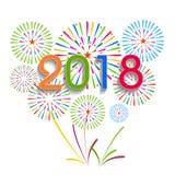 Illustrazione di vettore dei fuochi d'artificio variopinti Tema 2018 del buon anno Fotografie Stock