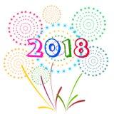 Illustrazione di vettore dei fuochi d'artificio variopinti Tema 2018 del buon anno Immagine Stock