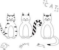 Illustrazione di vettore dei gatti divertenti messi Immagine Stock Libera da Diritti