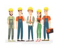 Illustrazione di vettore dei lavoratori gruppo, ingegneri e costruttori vestiti in maglie ed in caschi protettivi Lavoratori nel  illustrazione di stock