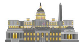 Illustrazione di vettore dei monumenti e dei punti di riferimento del Washington DC Fotografie Stock Libere da Diritti