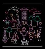 Illustrazione di vettore dei musicisti della via Fotografie Stock