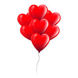 Illustrazione di vettore dei palloni rossi del cuore Concetto di giorno del biglietto di S Illustrazione Vettoriale