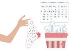 Illustrazione di vettore dei pantaloni con i cali del sangue mestruale nel periodo di mensili delle donne, in tampone ed in cusci illustrazione vettoriale