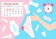 Illustrazione di vettore dei pantaloni con i punti di sangue mestruale in periodo di mensili delle donne, tampone, cappuccio e cu royalty illustrazione gratis