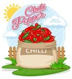 Illustrazione di vettore dei prodotti di eco Chili Pepper maturo in sacco della tela da imballaggio Sacchi pieni con gli ortaggi  royalty illustrazione gratis