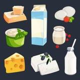 Illustrazione di vettore dei prodotti lattiero-caseari differenti Isolato delle immagini di stile del fumetto su bianco illustrazione di stock