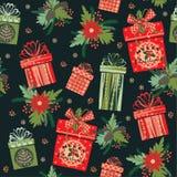 Illustrazione di vettore dei regali di Buon Natale Reticolo senza giunte Immagini Stock Libere da Diritti