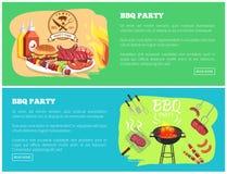 Illustrazione di vettore dei siti Web della raccolta del partito del BBQ Immagini Stock Libere da Diritti