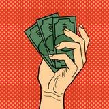 Illustrazione di vettore dei soldi di mano di Pop art Fotografia Stock
