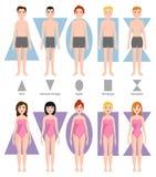Illustrazione di vettore dei tipi differenti di forma del corpo Immagini Stock Libere da Diritti