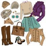 Illustrazione di vettore dei vestiti femminili della raccolta di modo illustrazione di stock