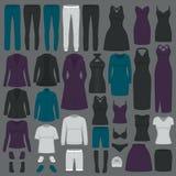 Illustrazione di vettore dei vestiti di modo delle donne dell'insieme Immagini Stock