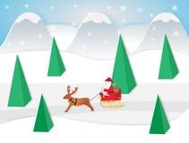 Illustrazione di vettore del Babbo Natale che si siede in una slitta con la renna illustrazione vettoriale