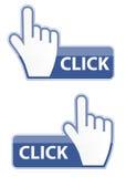 Illustrazione di vettore del bottone di clic del cursore della mano del mouse Fotografia Stock