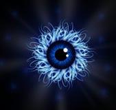 Illustrazione di vettore del bulbo oculare blu con i tentacoli immagini stock