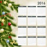 Illustrazione di vettore del calendario da 2016 nuovi anni Fotografia Stock