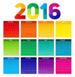 Illustrazione di vettore del calendario 2016 del nuovo anno Immagini Stock