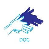 Illustrazione di vettore del cane del burattino di mano dell'ombra Fotografia Stock Libera da Diritti