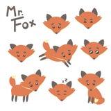 Illustrazione di vettore del carattere di signor Fox Funny Cartoon Fotografia Stock