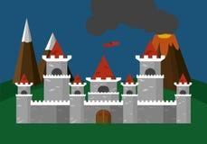 Illustrazione di vettore del castello piana Fotografia Stock Libera da Diritti