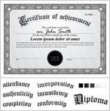 Illustrazione di vettore del certificato in bianco e nero Fotografia Stock Libera da Diritti