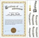Illustrazione di vettore del certificato dell'oro mascherina Immagini Stock Libere da Diritti