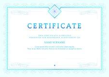 Illustrazione di vettore del certificato dettagliato blu Fotografia Stock Libera da Diritti