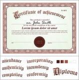 Illustrazione di vettore del certificato marrone Fotografia Stock