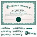 Illustrazione di vettore del certificato verde Fotografia Stock