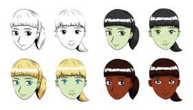 Illustrazione di vettore del colpo di Manga Fringe Ponytail Hair Girl Fotografia Stock