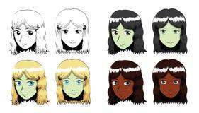 Illustrazione di vettore del colpo di Manga Long Wavy Hair Girl Fotografie Stock