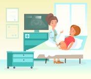 Illustrazione di vettore del concetto della selezione di gravidanza di ultrasuono Medico femminile adorabile che esplora madre fe illustrazione vettoriale