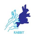 Illustrazione di vettore del coniglio del burattino di mano dell'ombra Fotografia Stock