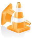 Illustrazione di vettore del cono di traffico dell'icona Fotografie Stock Libere da Diritti