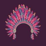 Illustrazione di vettore del copricapo del capo indiano del nativo americano Illustrazione Vettoriale