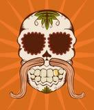 Illustrazione di vettore del cranio arancione dello zucchero Immagini Stock