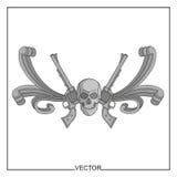 Illustrazione di vettore del cranio e dei revolver antichi Immagini Stock