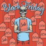 Illustrazione di vettore del cranio su Black Friday Immagini Stock Libere da Diritti