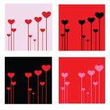 Illustrazione di vettore del cuore di giorno di biglietti di S. Valentino nei colori differenti fondo, carta da parati, carta di  Immagine Stock