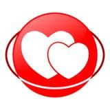 Illustrazione di vettore del cuore, icona rossa Fotografia Stock Libera da Diritti