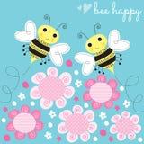 Illustrazione di vettore del fiore delle api Fotografie Stock Libere da Diritti