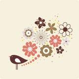 Illustrazione di vettore del fiore e dell'uccello Fotografie Stock Libere da Diritti